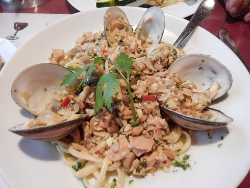 The Linguine with white clam sauce, loaded with clam pieces $13.95