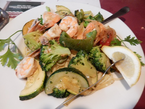 The Sauteed Garden Vegetable Pasta Primavera with Shrimp $18.95